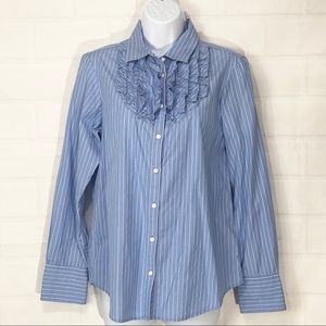 Gap Sky Blue Pinstripe Button Down w Ruffles M